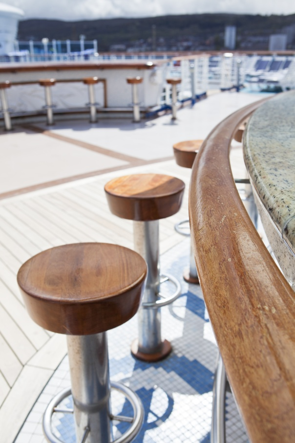 closeup of a bar on sundeck of the cruise ship